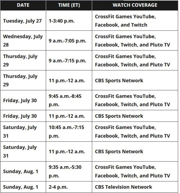 2021 Games Schedule